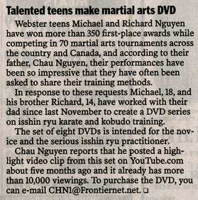 Karate DVD Series listing